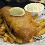 1 piece Haddock & Chips, choose from haddock, cod, sole, & halibut