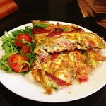 White egg omelette with baked ham