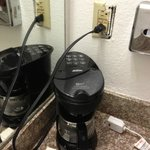 Plug broken-big hazard. The only place we could plug in the coffee maker.