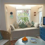 Garden Cottage by window and seating area