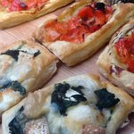 Sweet pepper and onion tarts and spinach and goat's cheese tarts