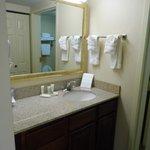 Beautiful Bathroom... Drawers in vanity & closet across from vanity