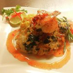 Yummmm! Fish special Cilantro lime crusted red snapper with grilled shrimp and