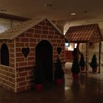 Gingerbread house in hotel lobby