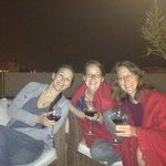 enjoying wine on rooftop deck!