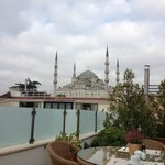 view of Blue Mosque from rooftop deck