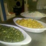 Saag Paneer, Vegetable Korma and Rice