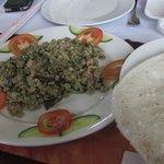 Rice cracker with mini clams