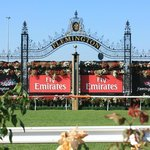 The finishing line at Flemington Race Course