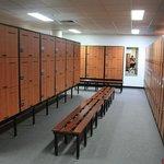 The men's locker room at Rod Laver Arena