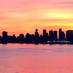 Vancouver sunset from our room. Zoomed in.