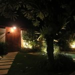 Entrance gate and garden at night