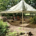 The Central Campfire with parachute awning