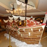 Gingerbread ship made for Chistmas in the lobby