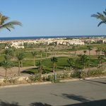 Par 3 course and view to Bay and other hotels in Makadi