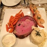 10oz Prime Rib with carrots, creamy mashed and shrimp.