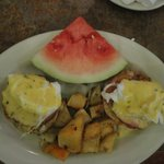 Banana Café Brunch Menu Entree ~ Eggs Benedict with Fried Potatoes & Watermelon