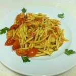 pasta fresca with shrimps cherry tomate in brandy sauce ( 8 euro)