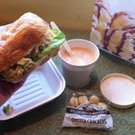 chicken salad sanwich and lobster bisque