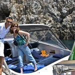 Salvatore and Nicole on cabin cruiser