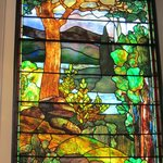 Tiffany window in synagogue