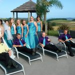 Our bridal party at the poolside