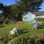 Front Lawn, lounge chairs & view of harbor