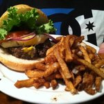 sinfully good burger and fries