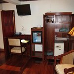 Desk, fridge with complimentary water/sodas and wardrobe with large safe