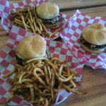 Honest Abe's variety of burgers, plus freedom fries