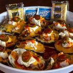 """Mex Tex"" - Salsa, Jalapeno, Jack Cheese. Flavored Steamed Oysters"