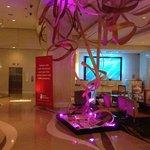 Socially-conscious sculptures adorn the lobby