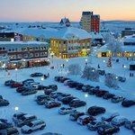 View of the Kiruna town center from room #402