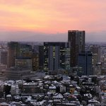 View from my room on the 27th floor at sunset over snowy Tokyo