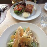 Chicken Caesar salad and Smoked Salmon quiche
