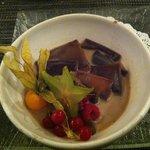 Ravioles au chocolat, sauce chocolat blanc