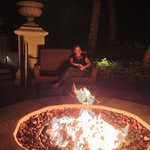 firepit at night, have a drink, eat or relax outside restsutant