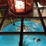 salon / cheminée / piscine