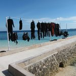Drying wet suits on the last day
