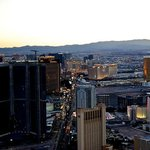 """View of """"Strip"""" from tower at sunset."""