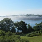 Early morning mist over the water. View from our room.