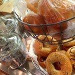 Fresh organic bagels and pepeproni rolls (vegetarian ones too)!