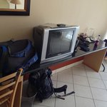 TV in the room - sorry about the luggage!