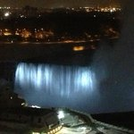 Falls lit at night