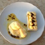 white chocolate moose cake with passion fruit and pineapple ice cream