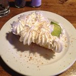 key lime pie... too much whip cream, scraped most of it off!