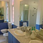 Double sink vanity, bidet, toilet