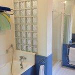 Full-size bathtub, large shower stall