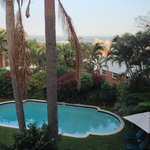 Balcony view of the pool, downtown Durban, and the Indian Ocean