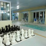 Inddor pool area, chess set with hot Tob